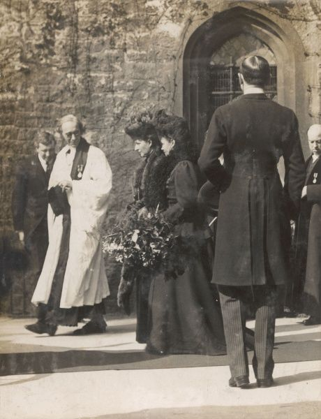 Queen Alexandra (1844-1925) and her sister Empress Maria Feodorovna of Russia, formerly Princess Dagmar of Denmark (1847-1928), leaving the Maundy Thursday distribution ceremony at Westminster Abbey, Central London, at which specially coined