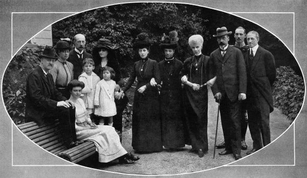 Portrait of Queen Alexandra and her Danish relatives at Bernstorff Castle in Denmark. From left to right are the Duke of Cumberland, Princess Victoria (Toria), Princess Olga of Cumberland (seated), Prince George of Greece, Princess George of Greece