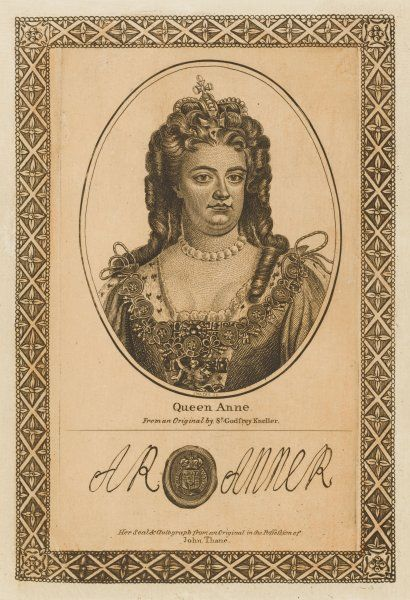 ANNE, queen of England with her autograph