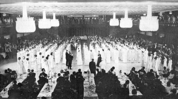 "Debutantes dressed in traditional white line up during Queen Charlotte's Ball, the highlight of the ""season&quot"