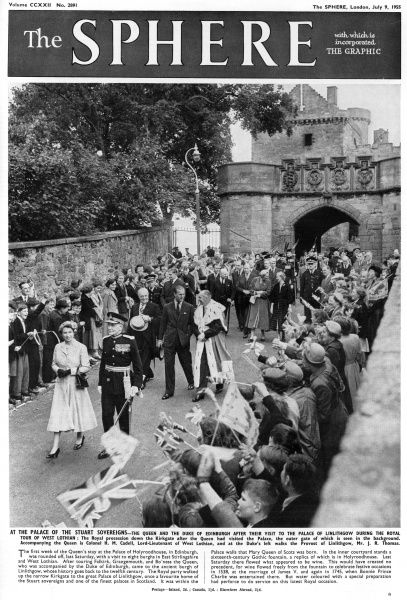 The Royal party leaving the Palace of Linlithgow, once a favourite home of Stuart sovereigns. Date: 1955