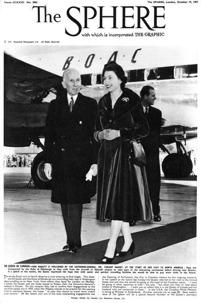 Queen Elizabeth II being welcomed by the governor general, Vincent Massey, at the start of her visit to North America