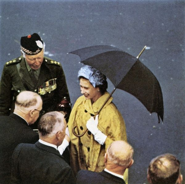 Queen Elizabeth II talking to Old Comrades of the Argyll and Sutherland Highlanders at a parade and presentation of regimental colours to the 7th & 9th Battalions at Stirling Castle during a visit to Scotland. Date: 1961