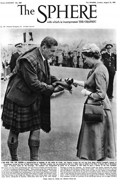 Queen Elizabeth II accepts the red rose from Major Michael Campbell, Captain of Dunstaffnage, during her tour of Clyde coast resorts