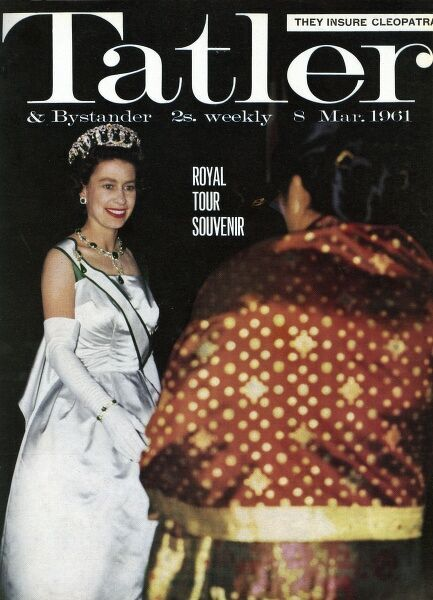 Front cover of The Tatler celebrating the royal tour of India in 1961. Queen Elizabeth II, resplendent in magnificent emeralds meets a guest at the Presidential Palace in Pakistan where a banquet was given in her honour. Date: 1961