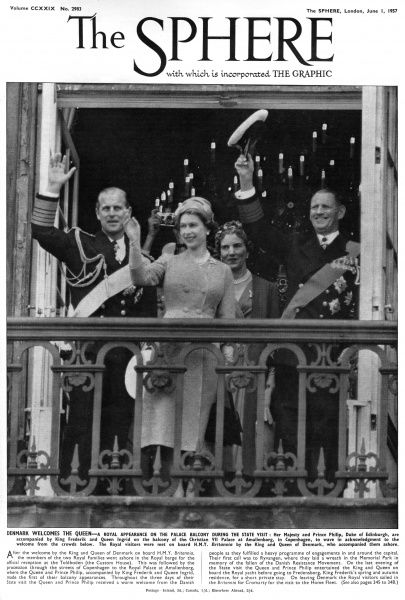Queen Elizabeth II appears on the balcony of the Amalienborg Palace in Copenhagen to wave in acknowledgement to the welcome from the crowds below, during a state visit to Denmark in 1957. She is accompanied by Prince Philip, Duke of Edinburgh