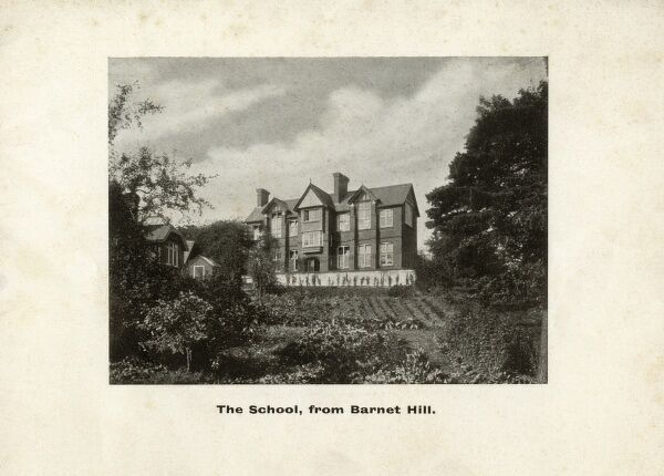 Queen Elizabeth's Girls' School, Barnet, founded in 1573 - View of the school from Barnet Hill. Date: circa 1905