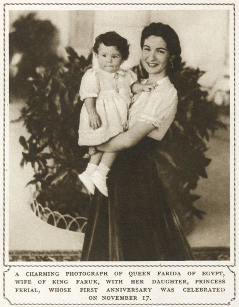 Queen Farida of Egypt(1921-1988) and her daughter Princess Ferial(1938-2009), around the time of her 1st birthday