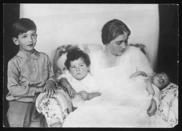 MARIE (MIGNON) HOHENZOLLERN Descendant of Queen Victoria and daughter of the King of Romania. Queen of Alexander I of Yugoslavia. Here with sons Peter, Tomislav and Andrej