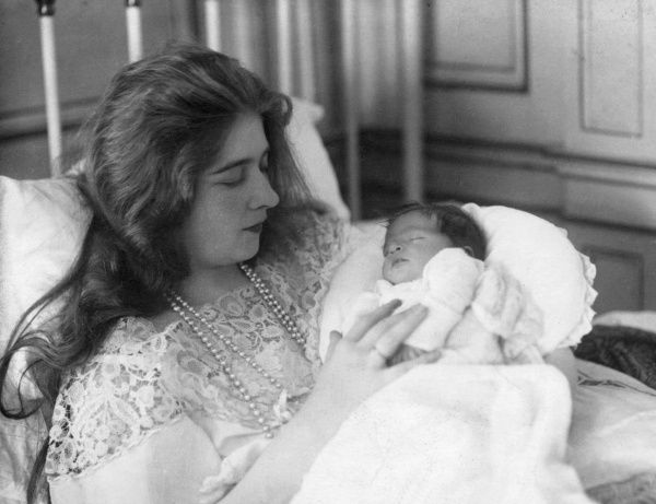 Queen Marie of Yugoslavia (Princess Marie of Romania) with her newborn eldest son Peter in September 1923