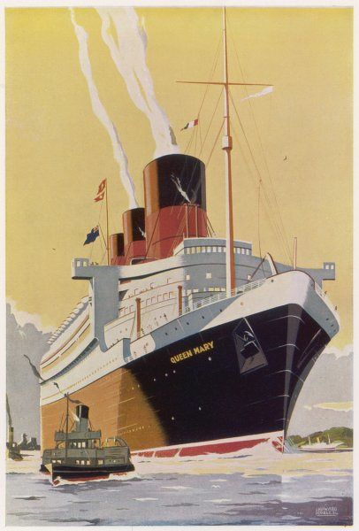 The Cunard White Star passenger liner at the time of her launch. Tonnage 70,000. Length at water-line 306m