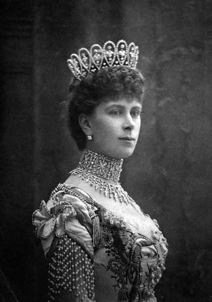 Photographic portrait of Queen Mary, when Princess May of Teck (1867-1953), pictured c.1902. She married the Duke of York, who became King George V of Great Britain and North Ireland (1865-1936)