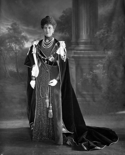 Photographic portrait of Queen Mary, previously Princess May of Teck (1867-1953), pictured c