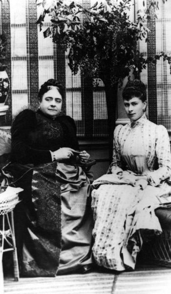 Queen Mary (1867 - 1953), formerly Princess May of Teck, pictured with her mother the Duchess of Teck (formerly Princess Mary Adelaide of Cambridge) at the time of her engagement to the Duke of York (later King George V)