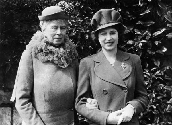 Queen Mary and her granddaughter Princess Elizabeth (later Queen Elizabeth II) on the occasion of the latter's 18th birthday, 21 April 1944. Date: 1944