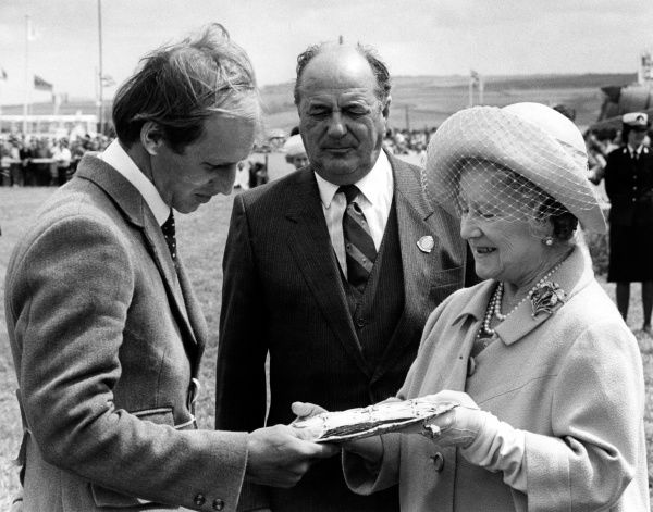 The Queen Mother makes a presentation to the winner of a Ridden Class at the Royal Cornwall Agricultural Show, which takes place at the beginning of June each year, at Wadebridge in North Cornwall. The show lasts for three days and attracts approximately 120