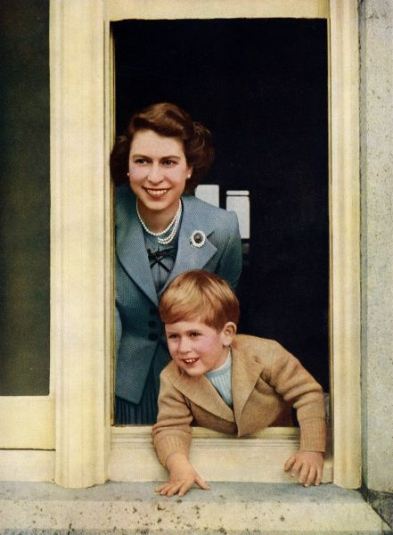 Queen Elizabeth II and Prince Charles, Prince of Wales, the Heir Apparent to the throne. Date: 1949