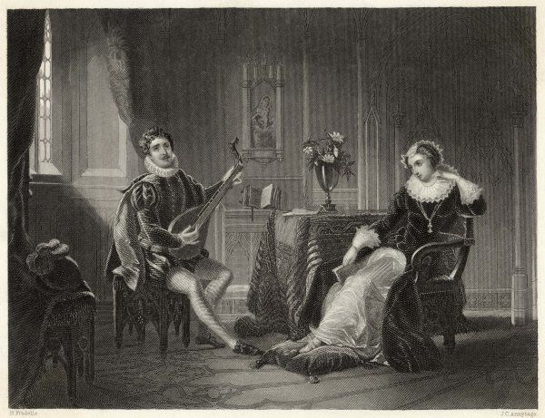 Mary Queen of Scots with Chastelard, who is playing music to her