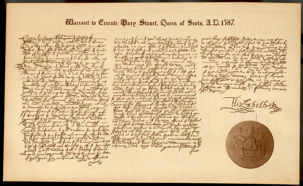 The warrant to execute Mary Queen of Scots