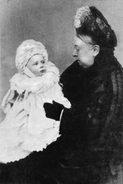 Queen Victoria holding her grandson, Prince Alexander of Battenberg, later Marquess of Carisbrooke(1886-1960), eldest son of Priness Beatrice and Prince Henry of Battenberg