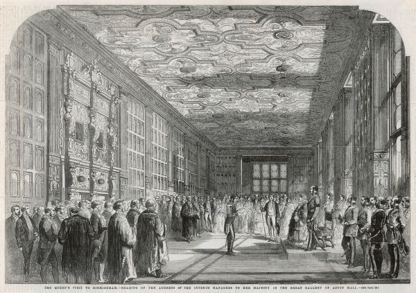 Queen Victoria's visit to Birmingham-reading of the address to the interim managers in the Great Gallery of Aston Hall