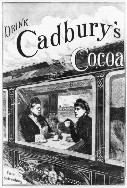 Advertisement featuring Queen Victoria and her daughter Princess Beatrice enjoying a reviving cup of cocoa (Cadbury's of course) while in the royal train