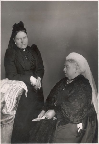 Queen Victoria seated, together with her eldest daughter, Victoria, (affectionately known as 'Vicky'), Empress Frederick of Prussia, mother to Kaiser Wilhelm II. Taken 1893