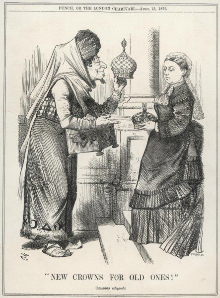 New crowns for old ones! Prime Minister Benjamin Disraeli offers Queen Victoria the imperial crown of India, in a spoof cartoon on an Arabian Nights tale (Aladdin's new lamps for old)