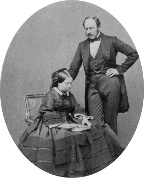 Queen Victoria and Prince Albert taken by the American photographer, J.J.E. Mayall in May 1860. This was one of the first royal photos to be published and the couple chose a consciously domestic image
