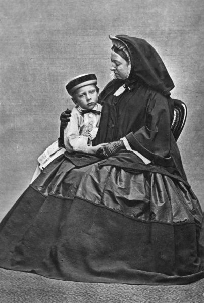 Queen Victoria with her grandson Prince Wilhelm of Prussia (later Kaiser Wilhelm II) during the 1860's. Date: c.1865