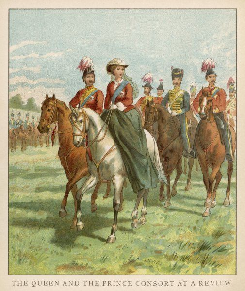 Queen Victoria reviews troops, accompanied by Prince Albert