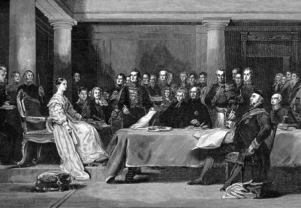 Engraving showing Queen Victoria holding her first council with the British government, eleven am on the morning of her accession, 20th June 1837