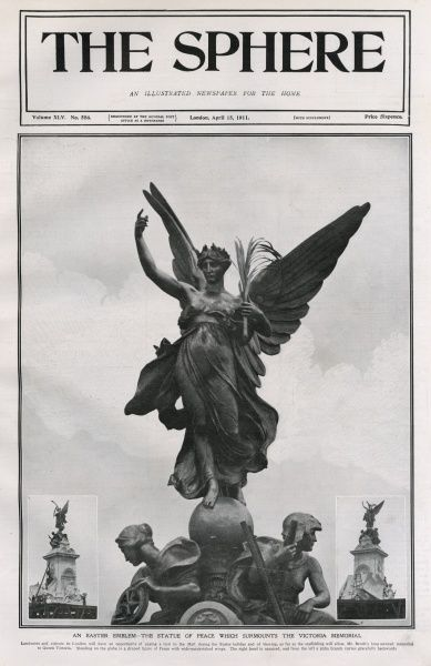The statue of peace surmounting the Queen Victoria Memorial Monument sculpted by Sir Thomas Brock and situated in front of Buckingham Palace. The memorial was unveiled in May 1911