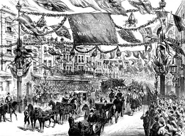 Engraving showing the horse-drawn carriage of Queen Victoria in the High Street, Aldgate, leaving the City of London and entering Whitechapel, 1887