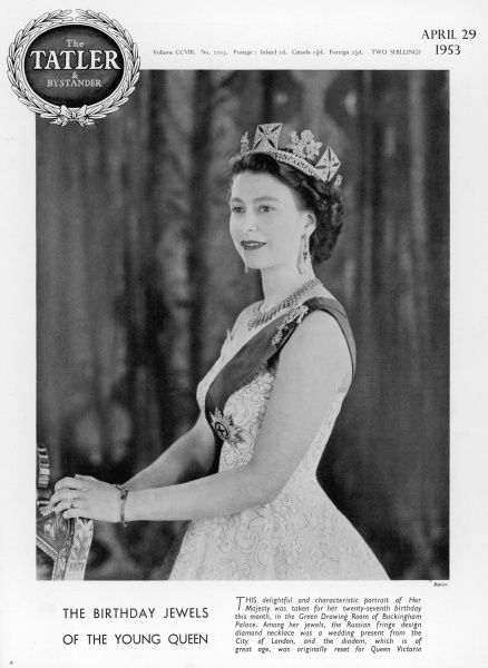Queen Elizabeth II posed for her portrait on the occasion of her 27th birthday, wearing a diadem originally reset for Queen Victoria and a Russian fringe style diamond necklace
