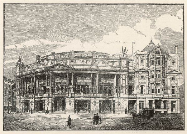 Design of the Queen's Opera House, Langham Place. Exterior view of the concert-hall