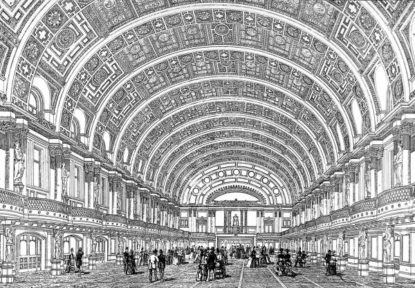 Engraving showing the interior of the Queen's Hall at the People's Palace in East London, which was opened in May 1887