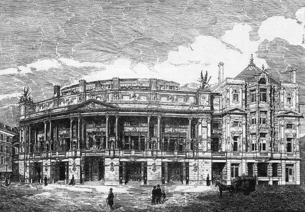 The design for the Queen's Opera House, Langham Place: the exterior of the concert hall. In 1941, the hall would be destroyed by an incendiary bomb. Date: 1900