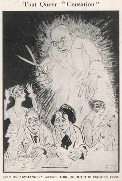 The staff of a Fleet Street newspaper or magazine, feel the pressure of work as the spectre of a censor brandishing scissors looms over them during World War One