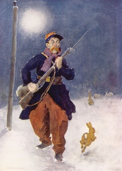 A French soldier in the traditional red pantalons of early World War One asks, Who Goes There? as he is disturbed by some rabbits frolicking in the snow