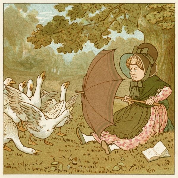 A quiet September afternoon in the countryside is ruined for this woman by a flock of Geese, intent on preventing her from finishing her book. Wisely she comes armed with a parasol to fend them off