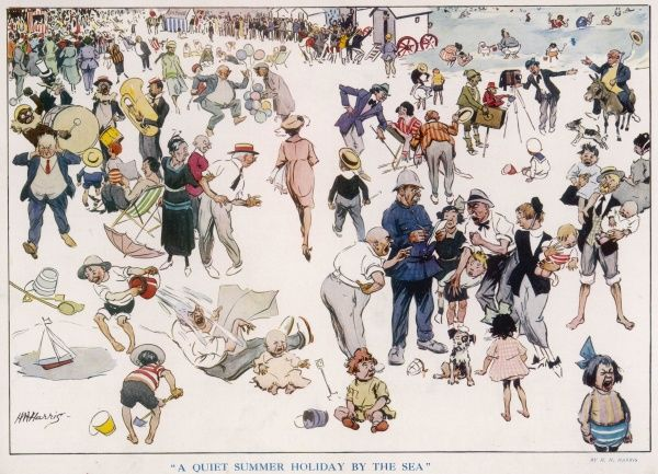 An amusing illustration of a British seaside holiday