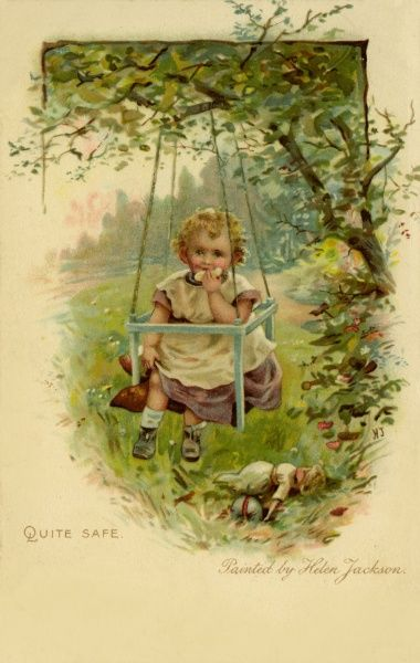 Quite Safe -- a little girl on a box-style swing, eating a sandwich. 19th century