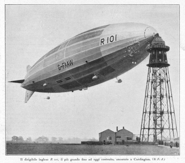 The R.101 at its mooring mast at Cardington