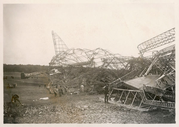 THE R.101 : badly designed, inadequately tested and overloaded, the airship crashes near Beauvais, France, on its way to India