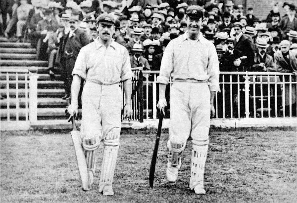 Photograph showing R.A. Duff and Victor Trumper (on right) of the Australian Cricket Team, going out to bat at the start of the Australian second innings, Bramall Lane, Sheffield, July 1902