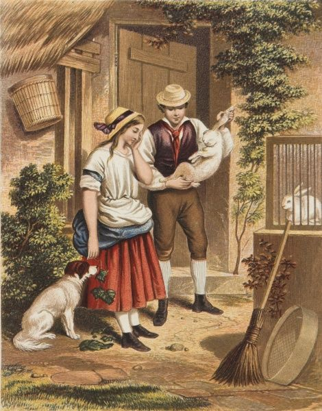 An early Victorian print showing a couple outside their rural cottage contemplating eating one of their rabbits. The woman seems rather upset about it all but the dog looks hopeful