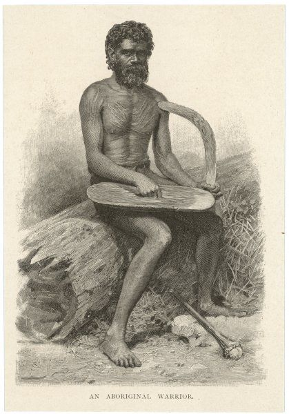 An Aboriginal Warrior - with boomerang, and a knobkerrie-like weapon