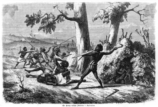 A native Australian family group is attacked by others - probably a dispute over territorial claims Date: 1863