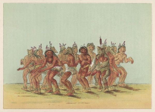 Bear Dance of the Sioux - one dancer is dressed as a bear